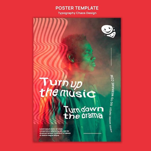 남자와 안개와 함께 음악을위한 포스터 템플릿 무료 PSD 파일