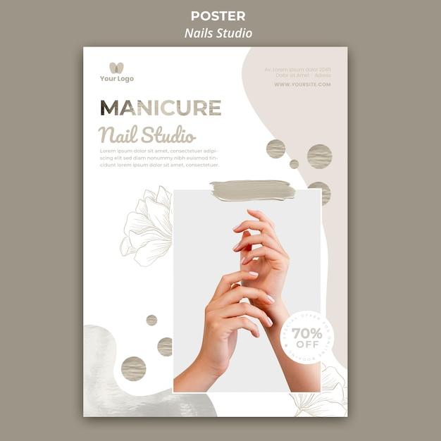 Шаблон плаката для маникюрного салона Бесплатные Psd