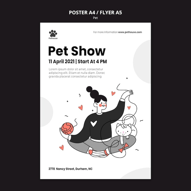 여성 소유자와 애완 동물과 함께 국가 애완 동물의 날 포스터 템플릿 무료 PSD 파일