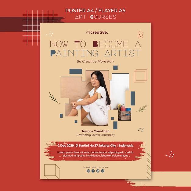 회화 수업을위한 포스터 템플릿 무료 PSD 파일