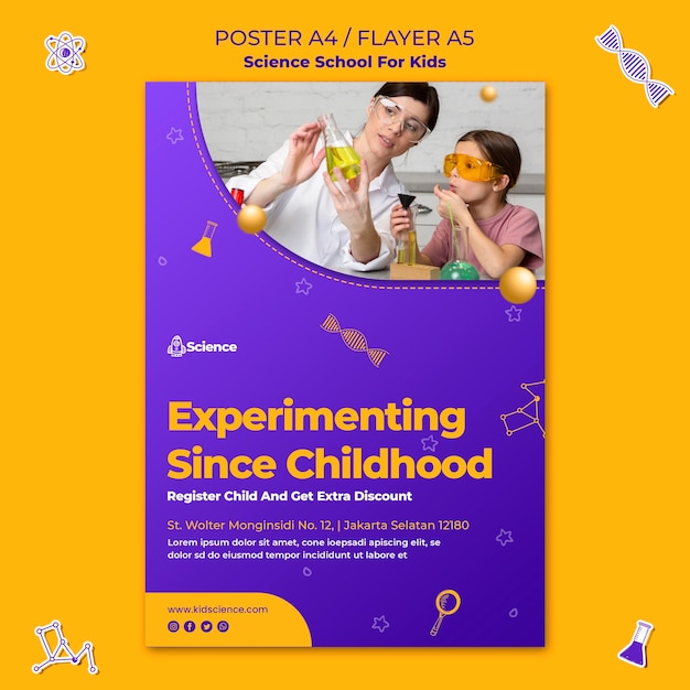 Шаблон плаката для научной школы для детей Бесплатные Psd