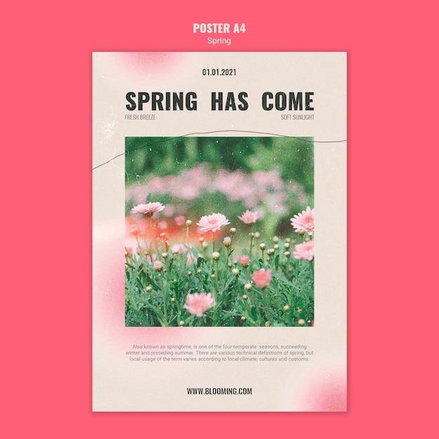 花と春のポスターテンプレート 無料 Psd