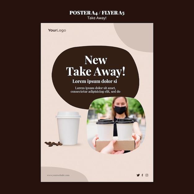 Шаблон плаката для кофе на вынос Бесплатные Psd
