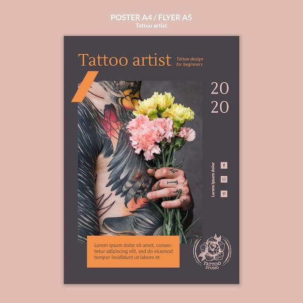 Шаблон плаката для татуировщика Бесплатные Psd