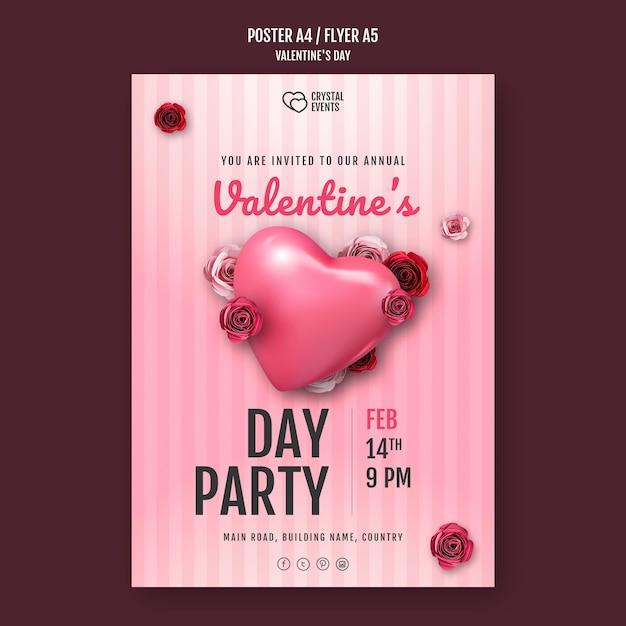 ハートと赤いバラのバレンタインデーのポスターテンプレート Premium Psd