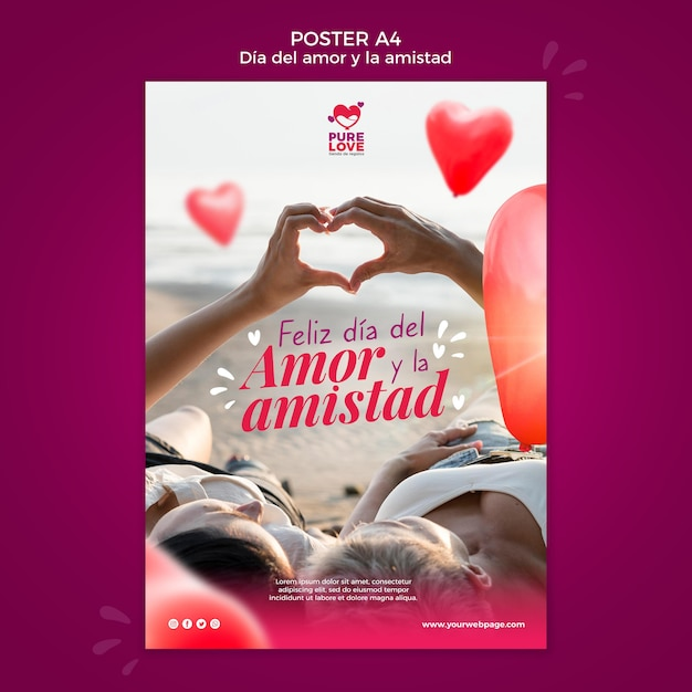 Шаблон плаката для празднования дня святого валентина Бесплатные Psd