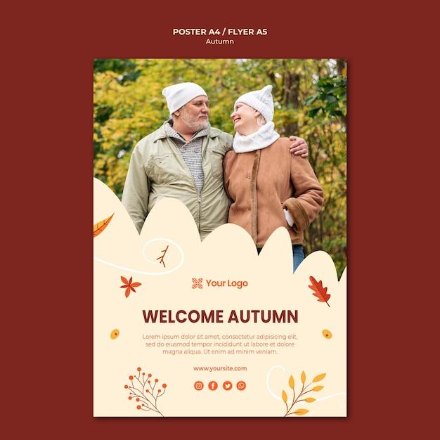 Шаблон постера для приветствия осеннего сезона Бесплатные Psd