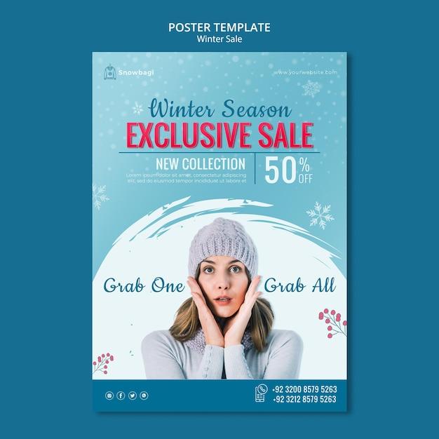 女性と雪片と冬の販売のためのポスターテンプレート 無料 Psd