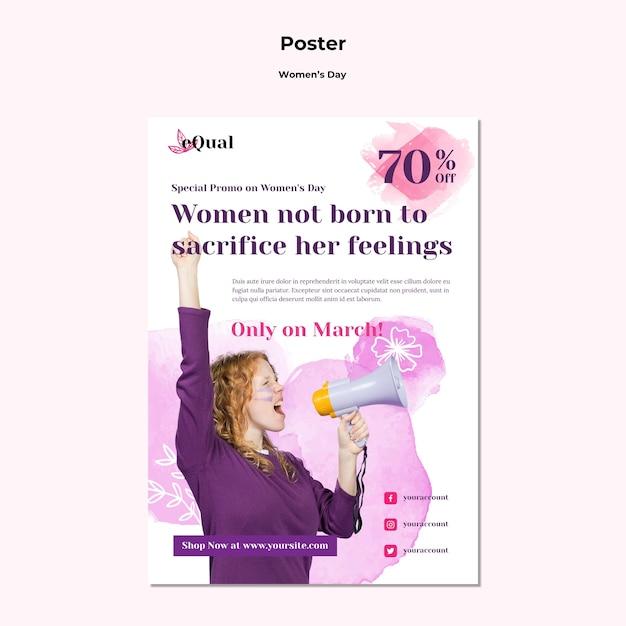 여성의 날 축하 포스터 템플릿 무료 PSD 파일