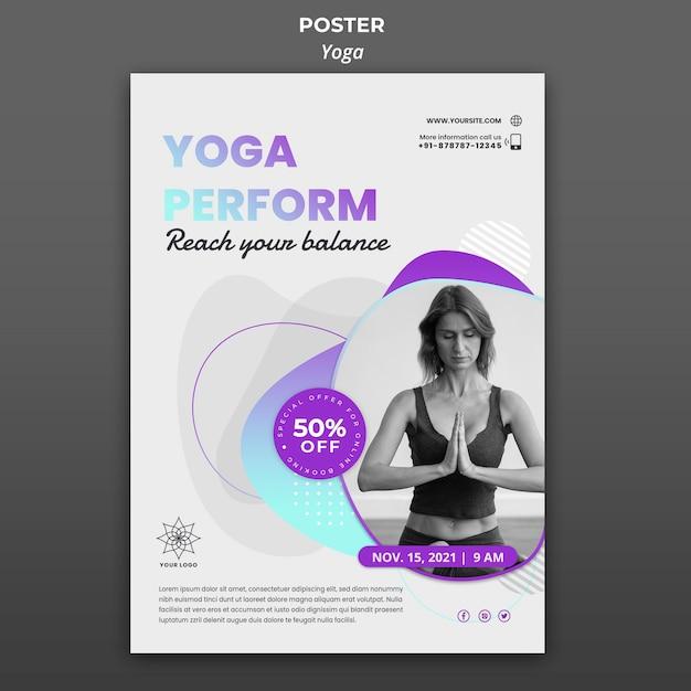 Шаблон плаката для уроков йоги Бесплатные Psd