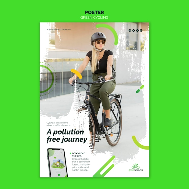 Poster template for green biking Free Psd