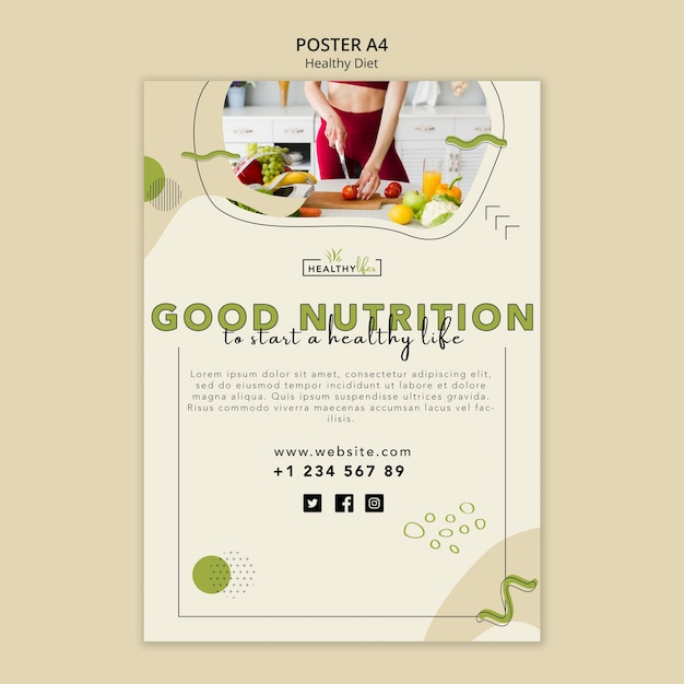 Poster template for healthy nutrition Free Psd