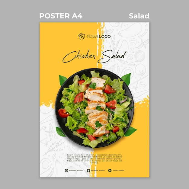 Poster template for healthy salad lunch Free Psd