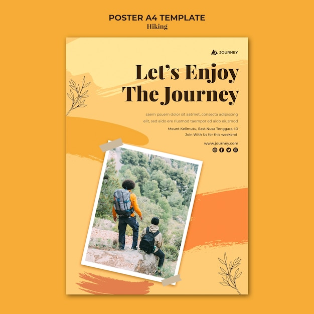 Poster template for hiking Free Psd