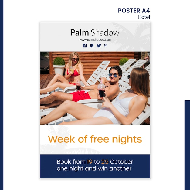 Poster template for hotel reservation Premium Psd