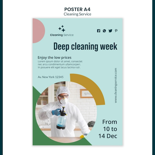 Poster template for house cleaning company Free Psd