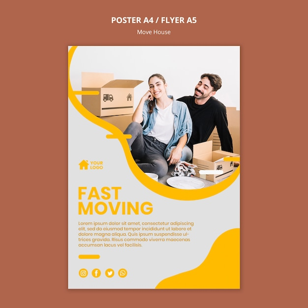 Poster template for house moving company Free Psd