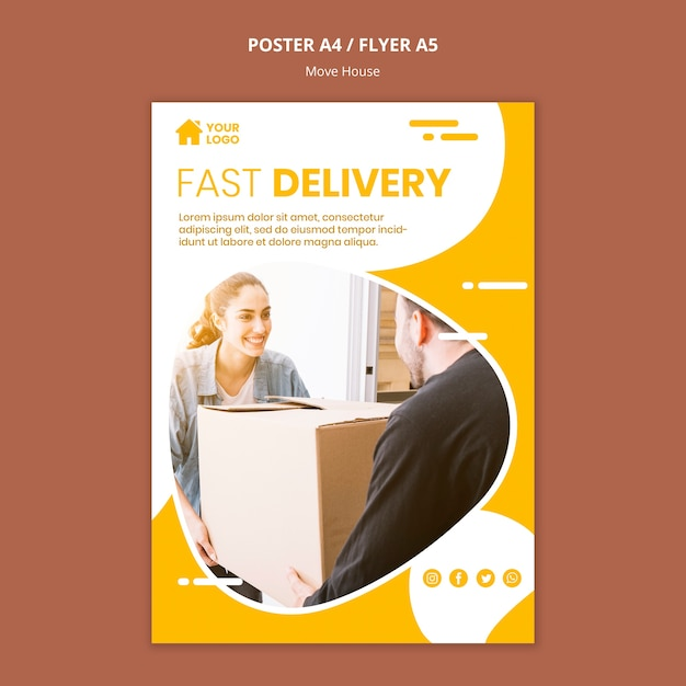 Poster templatefor house moving company Free Psd