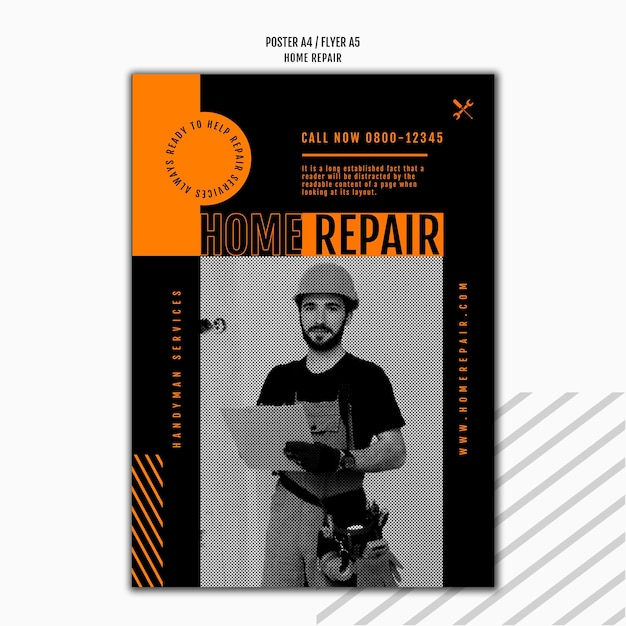 Poster template for house repair company Premium Psd