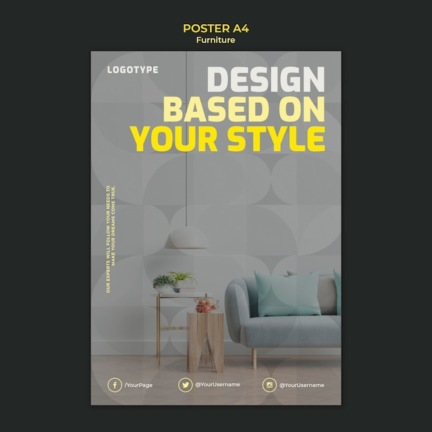 Poster template for interior design company Free Psd