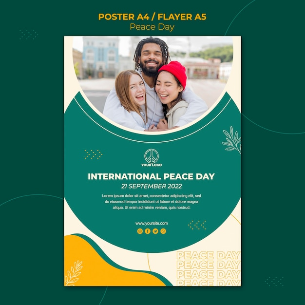 Poster template for international peace day Free Psd