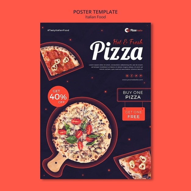 Poster template for italian food restaurant Free Psd