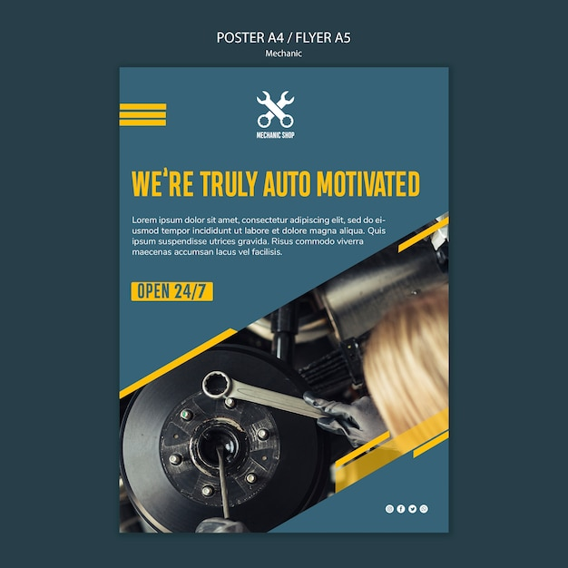 Poster template for mechanic profession Free Psd