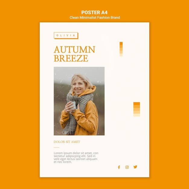 Modello di poster per marchio di moda autunnale minimalista Psd Gratuite