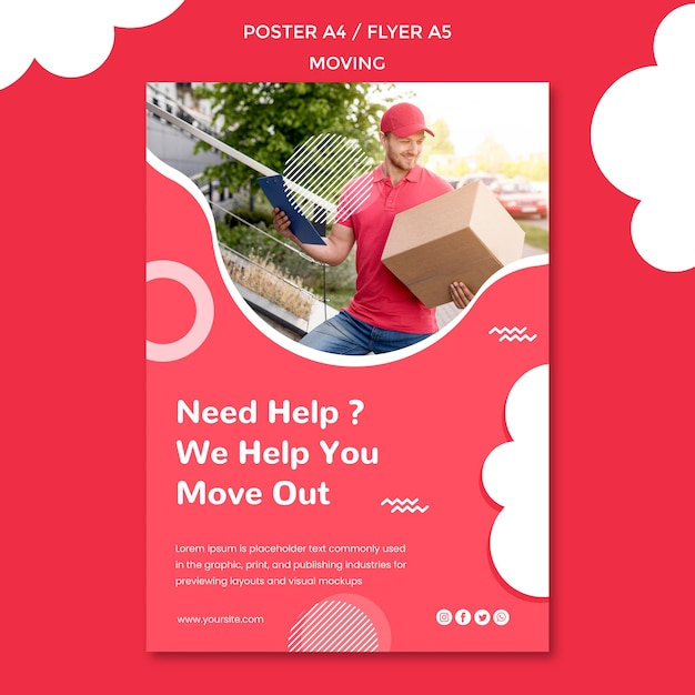 Poster template for moving company Free Psd