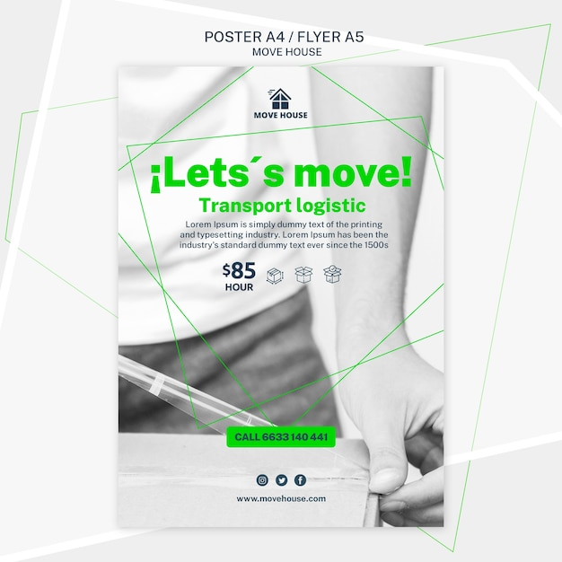 Poster template for moving service design Free Psd