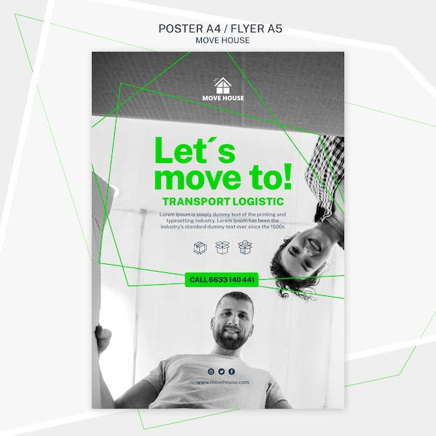 Poster template for moving service theme Free Psd