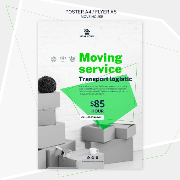Poster template for moving service Free Psd
