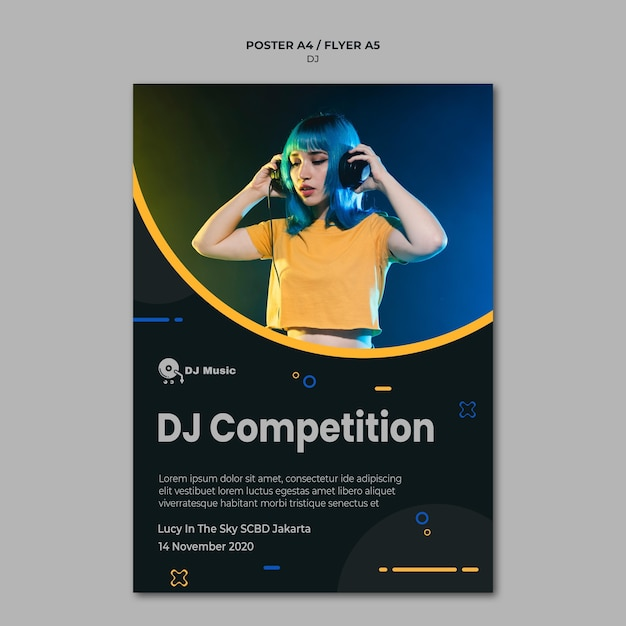 Poster template for music festival Free Psd