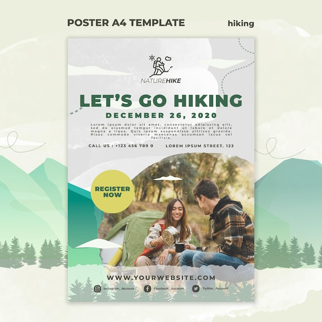Poster template for nature hiking Free Psd