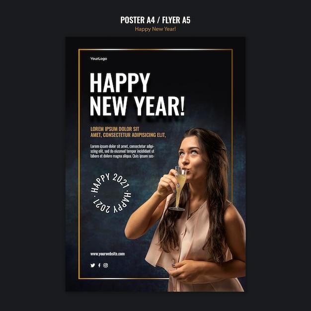 Modello di poster per la celebrazione del nuovo anno Psd Gratuite