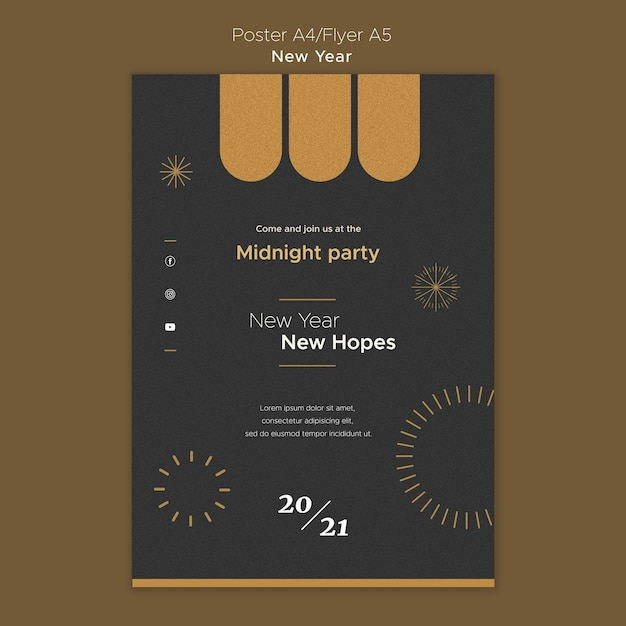 Poster template for new year's midnight party Free Psd