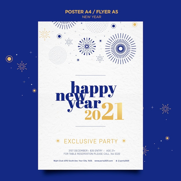 Poster template for new years party celebration Free Psd