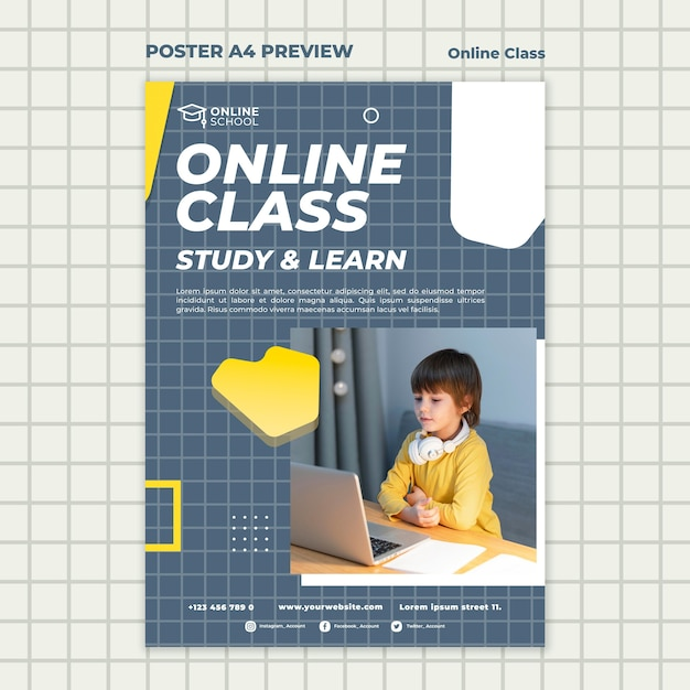 Poster template for online classes with child Free Psd