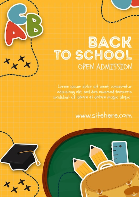 Poster template for open admission event Free Psd