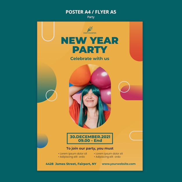 Poster template for party celebration with woman and balloons Free Psd