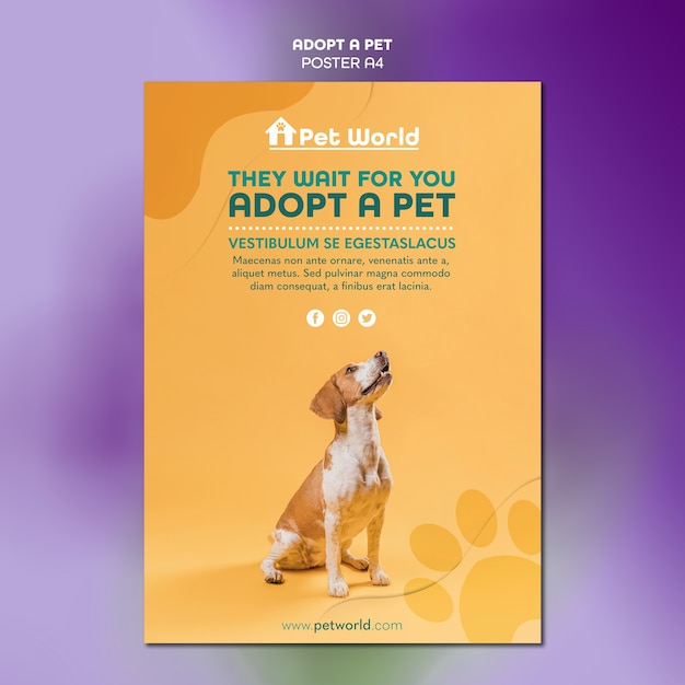 Poster template for pet adoption with dog Free Psd