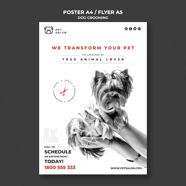 Poster template for pet grooming company Free Psd