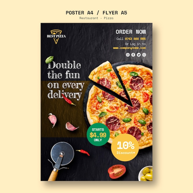 Poster template for pizza restaurant Premium Psd