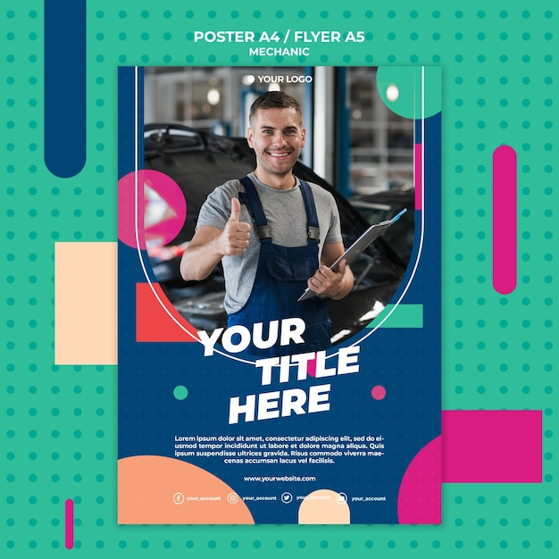 Poster template for professional mechanic Free Psd