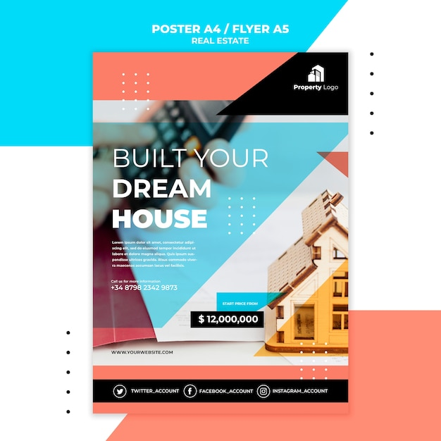 Poster template for real estate company Free Psd