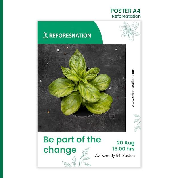 Annuncio di riforestazione modello poster Psd Gratuite