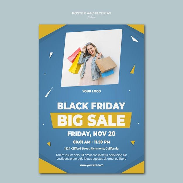 Poster template for retail sale Free Psd