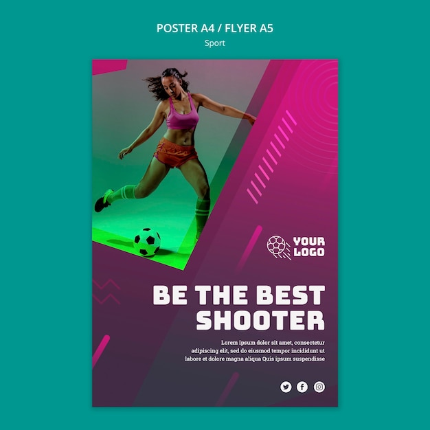 Poster template soccer training Free Psd