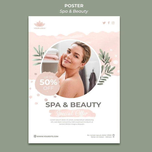 Poster template for spa and therapy Free Psd