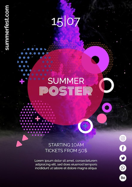 Poster template for summer festival Free Psd
